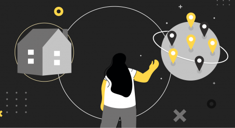 Header illustraton showing a person choosing between in–house and outsourcing software development.